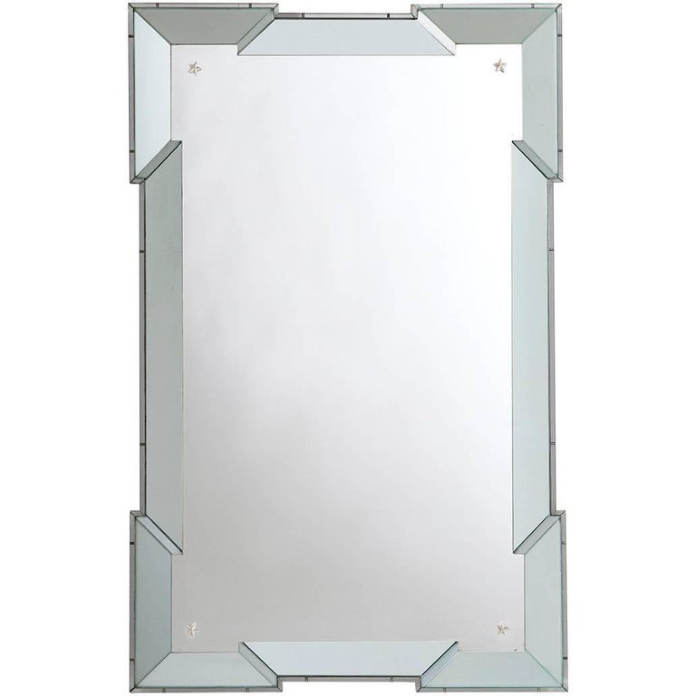 Arte Deco Style Frame with Notched Corners with Acid Etched Panelled Corners For Sale