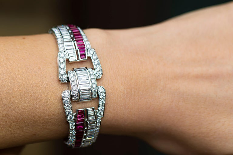 The craftsmanship of this bracelet is exceptional. The rubies and diamonds are top quality.  The construction of the links is some of the finest work I have seen in my 30 years in the trade.    Diamonds = 9.90 Carats ( Color: E-F, Clarity: VS ) Fine