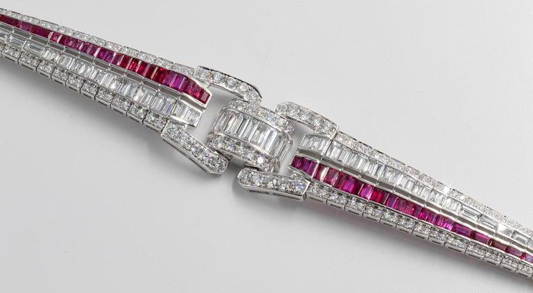 Modern Art Deco Bracelet Fine Rubies 6 Carats and Diamonds 9.90 Carats 18K Gold