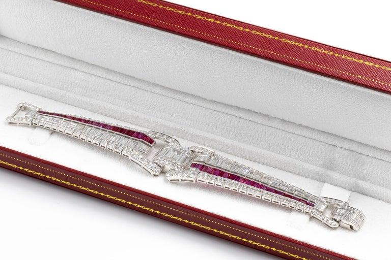Baguette Cut Art Deco Bracelet Fine Rubies 6 Carats and Diamonds 9.90 Carats 18K Gold