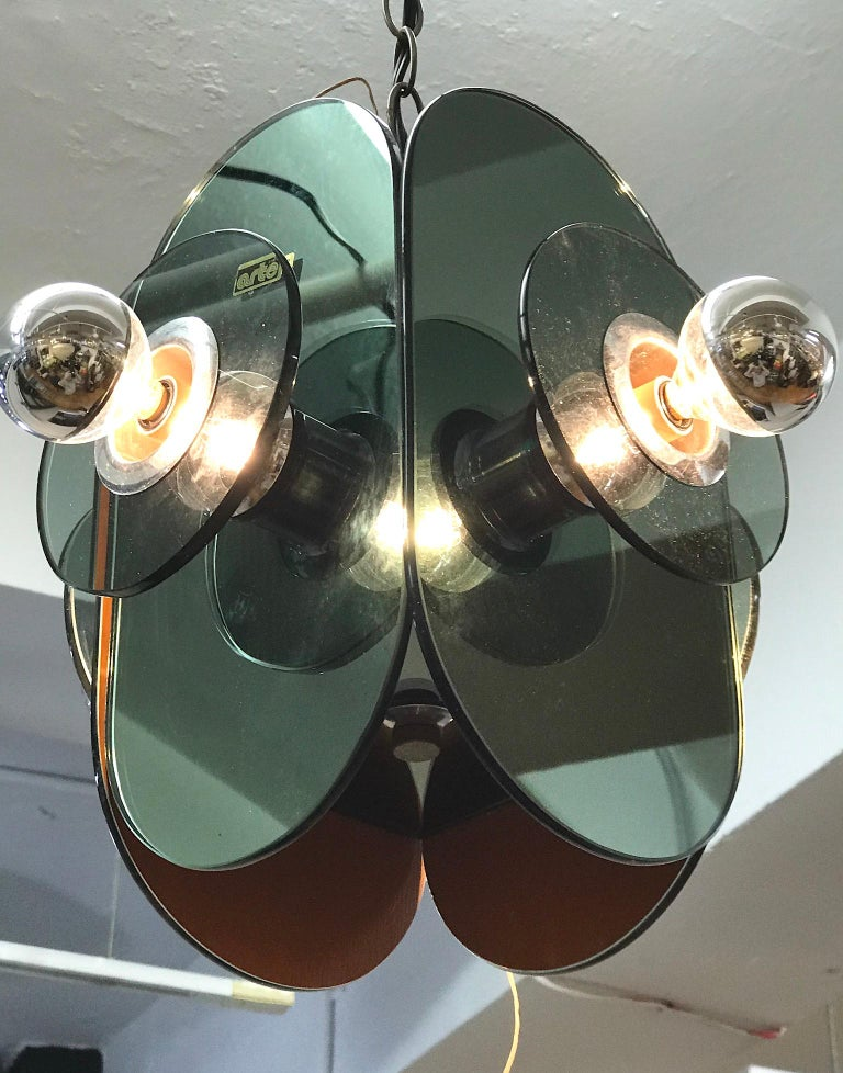 Mid-Century Modern Arte Linea 1970s Mirror Pendant Light For Sale