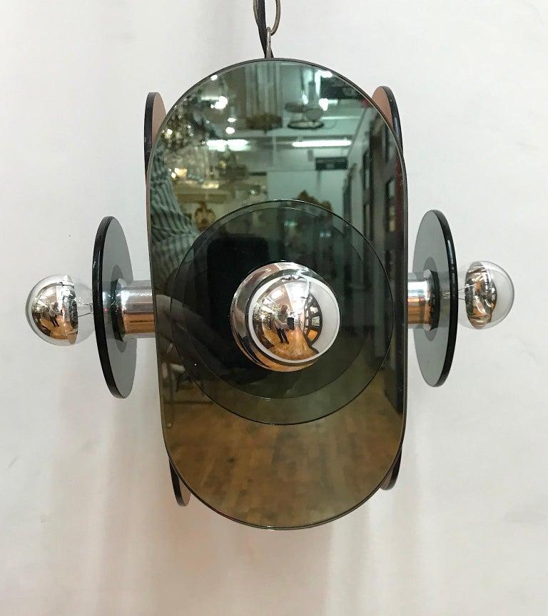 Arte Linea 1970s Mirror Pendant Light For Sale 2