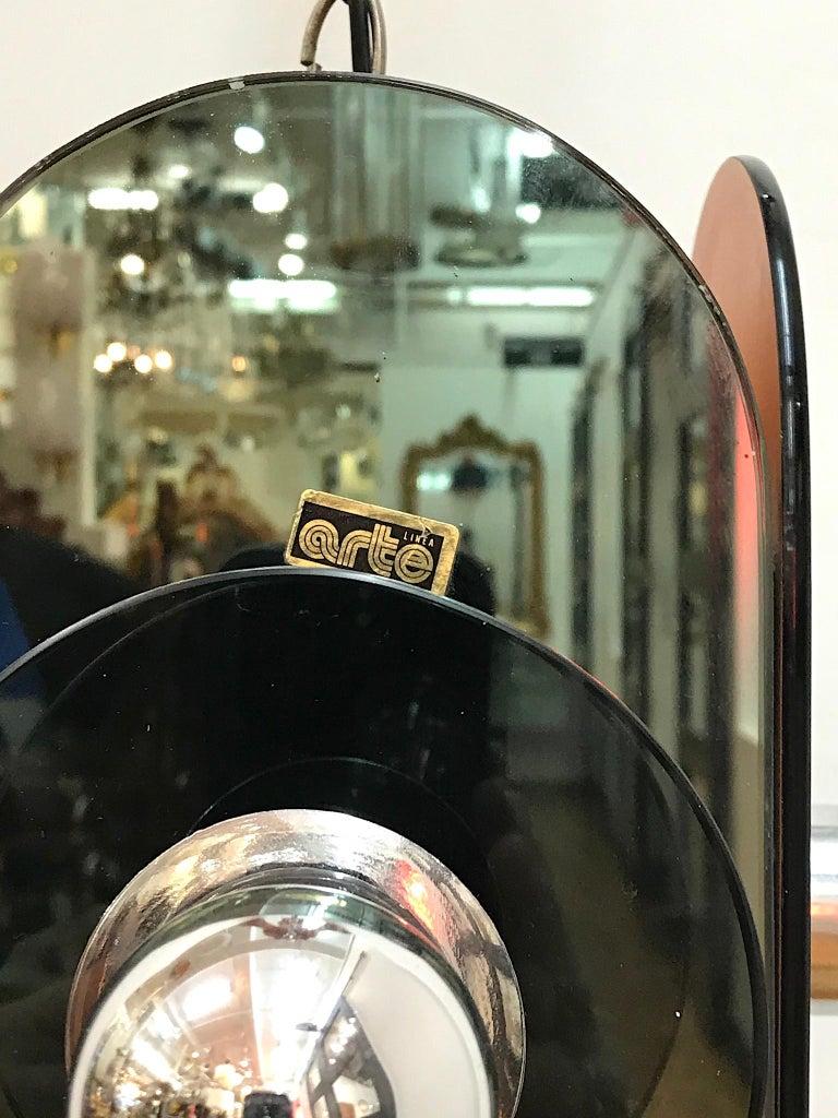 Arte Linea 1970s Mirror Pendant Light In Good Condition For Sale In New York, NY