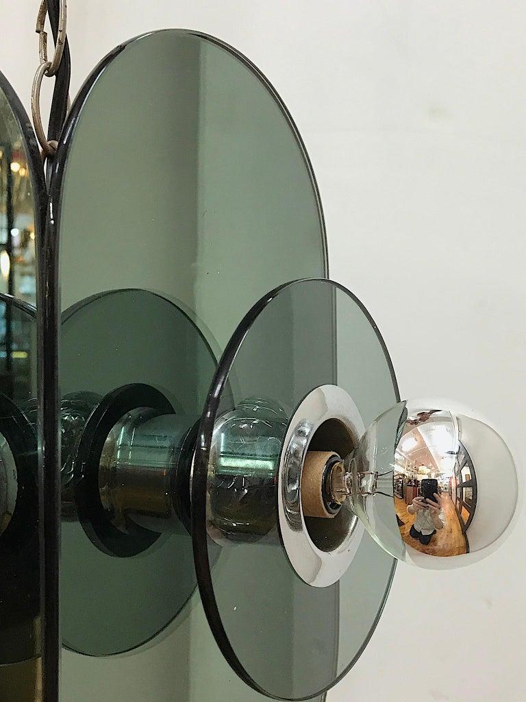 Arte Linea 1970s Mirror Pendant Light For Sale 3