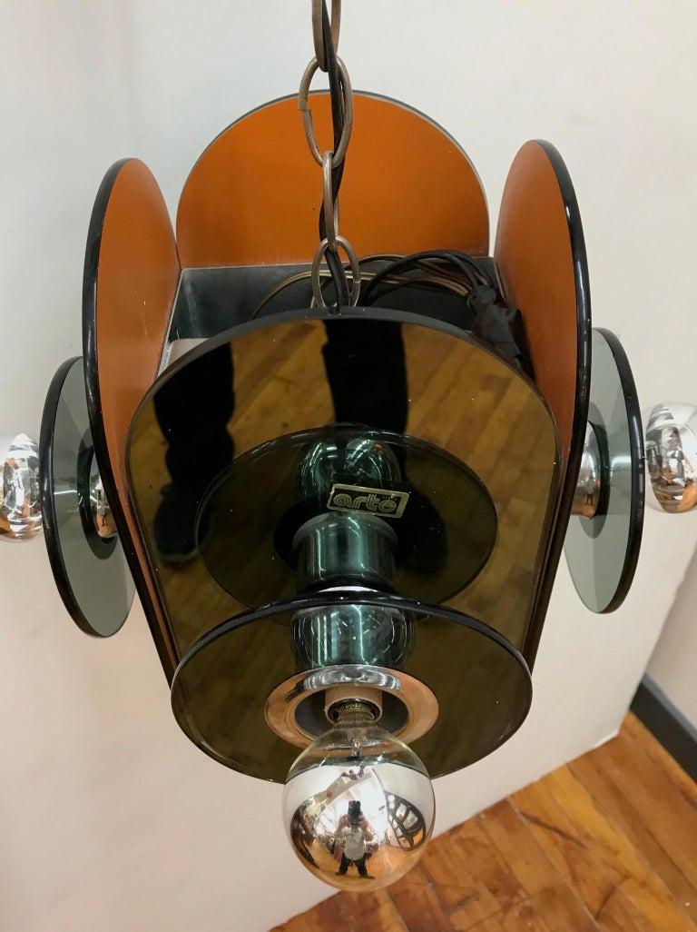 Arte Linea 1970s Mirror Pendant Light For Sale 1