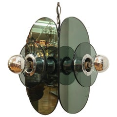 Arte Linea 1970s Mirror Pendant Light