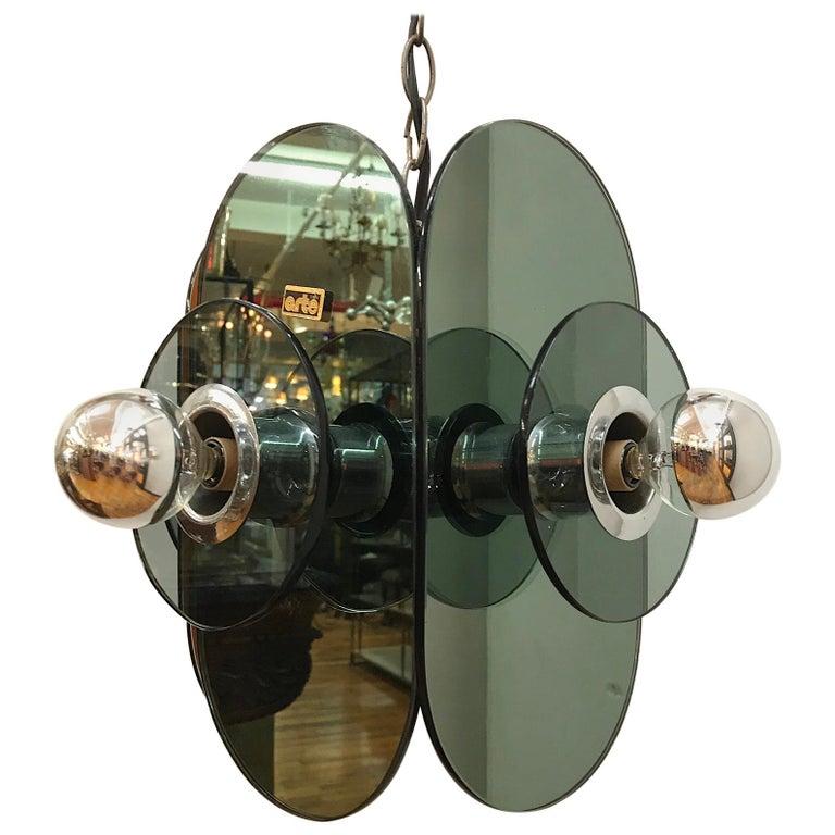 Arte Linea 1970s Mirror Pendant Light For Sale