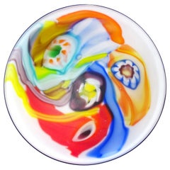 Arte Murano ICET Millefiori Flower Color Streaks Italian Art Glass Satin Bowl