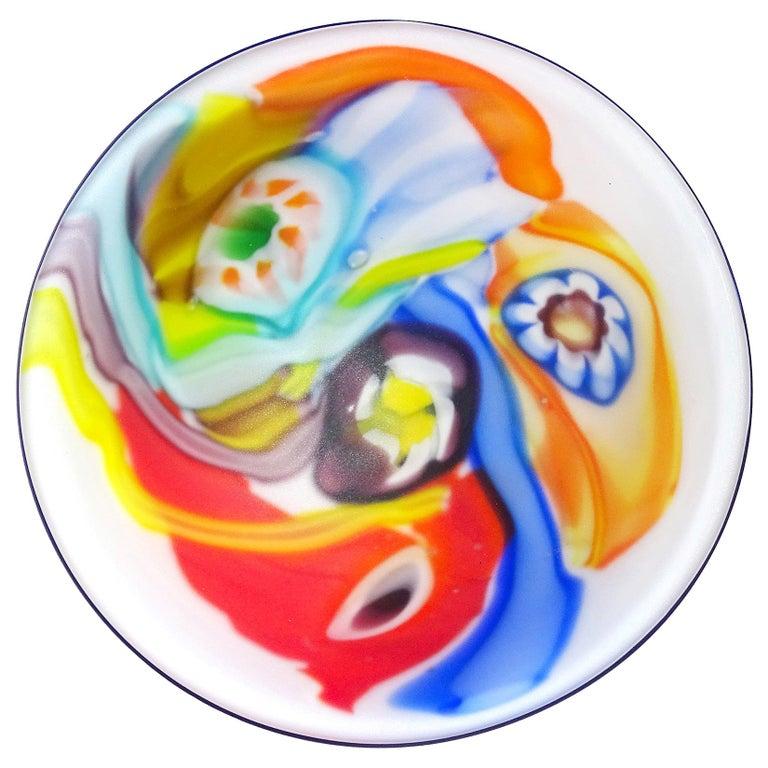 Arte Murano ICET Millefiori Flower Color Streaks Italian Art Glass Satin Bowl For Sale