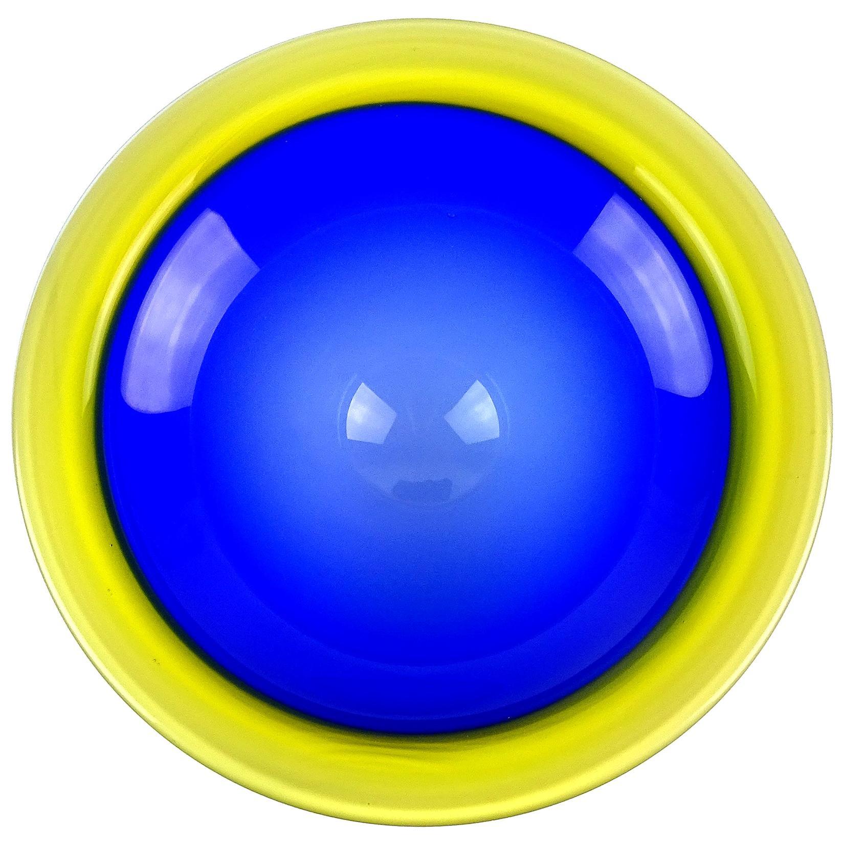Arte Murano ICET Venezuela Bright Blue Yellow Art Glass Decorative Bowl Dish