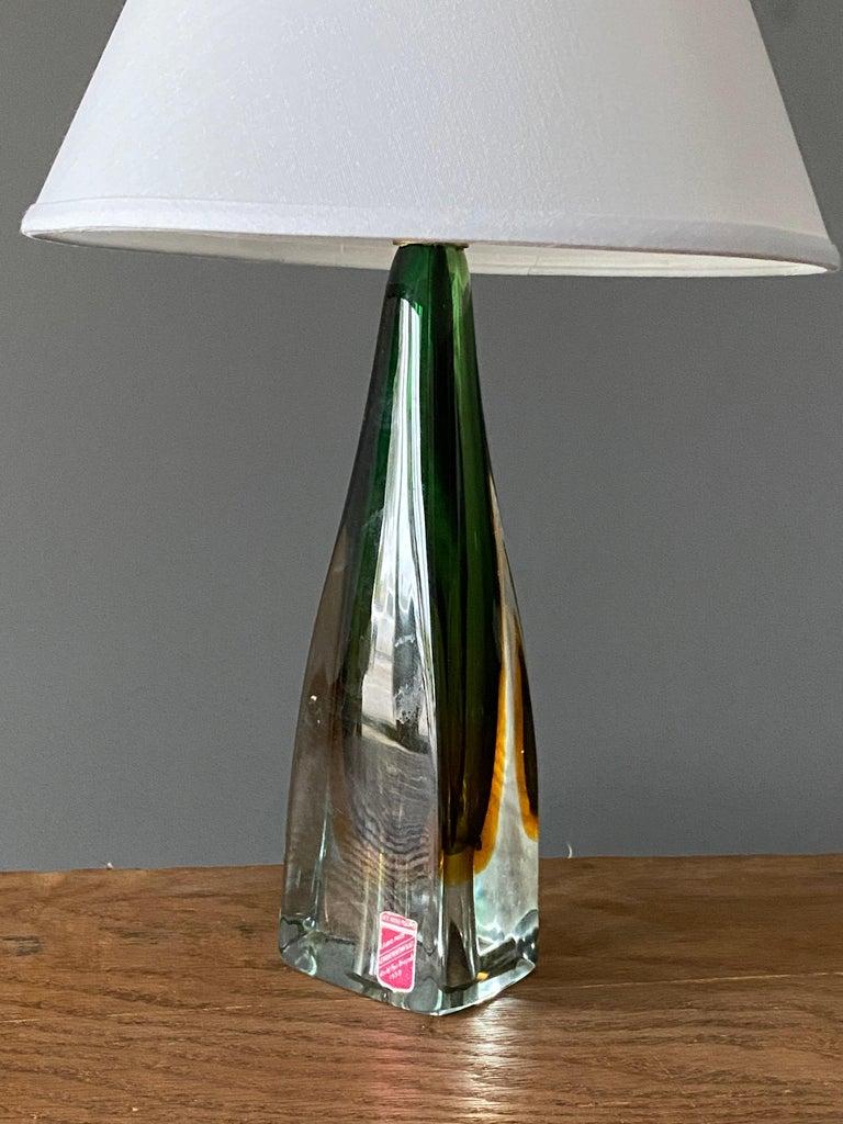 Mid-Century Modern Arte Nuova, Murano, Organic Table Lamp, Blown Colored Venetian Glass Italy 1950s For Sale