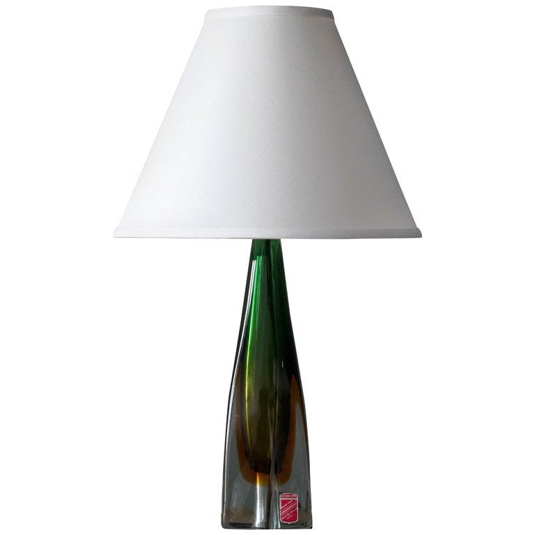Arte Nuova, Murano, Organic Table Lamp, Blown Colored Venetian Glass Italy 1950s For Sale