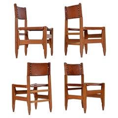 Arte Sano Biermann Cia Inc. Colombian Leather Hunting Chairs Set of 4