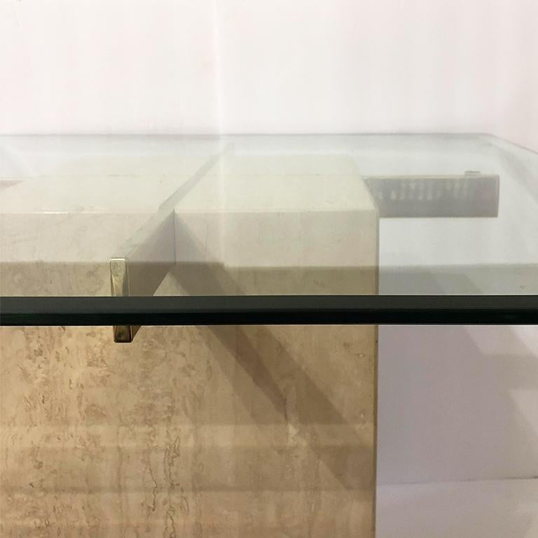 Late 20th Century Artedi Italian Travertine Occasional Table Satin Brass Beveled Glass Top 1980s For Sale