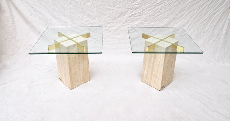 Artedi Travertine Marble Occasional Tables, Pair In Excellent Condition For Sale In Southampton, NJ