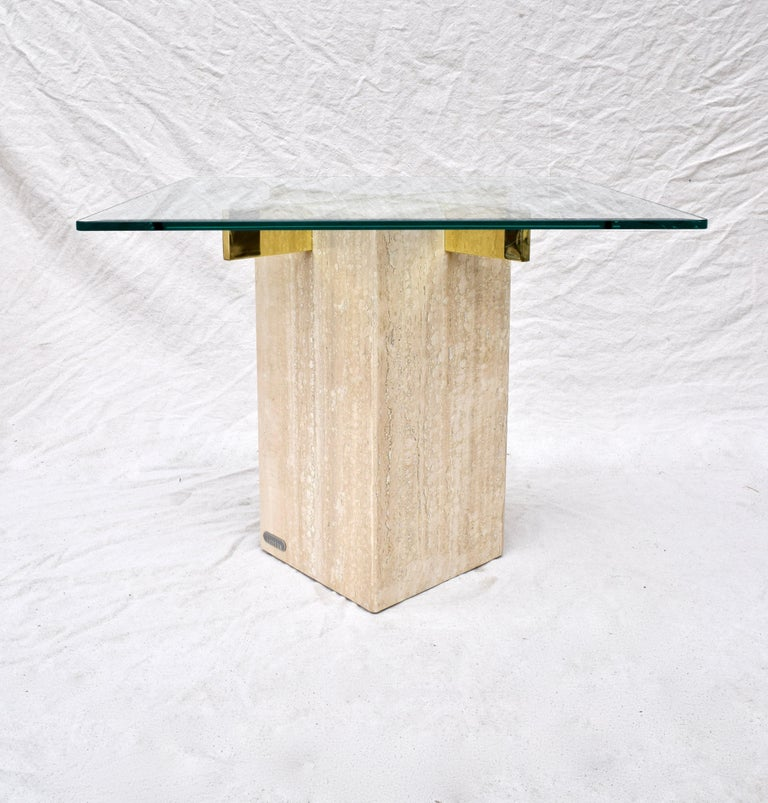 Italian Artedi Travertine Marble Occasional Tables, Pair For Sale