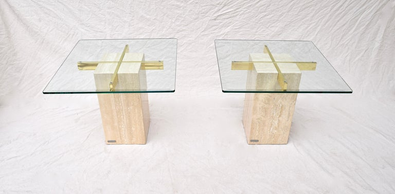 Modern Artedi Travertine Marble Occasional Tables, Pair For Sale