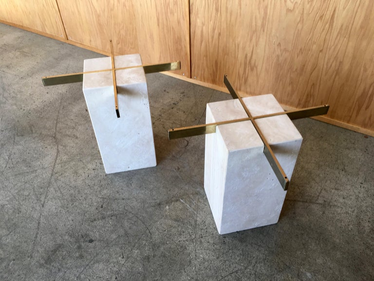 Artedi Travertine Tables a Pair For Sale 3