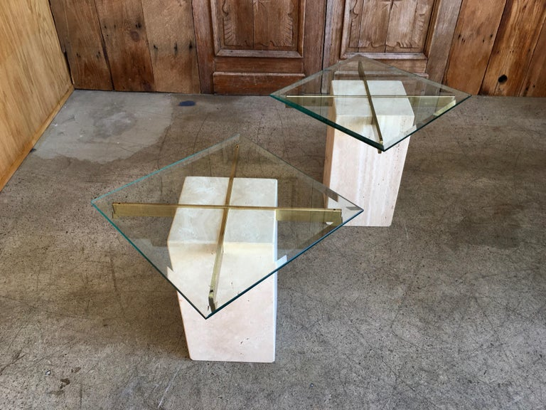Artedi Travertine Tables a Pair For Sale 4