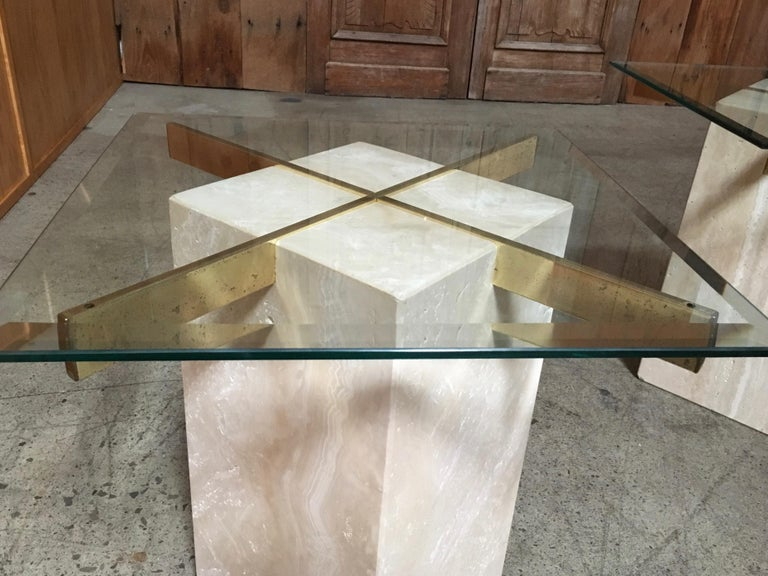 Artedi Travertine Tables a Pair For Sale 6