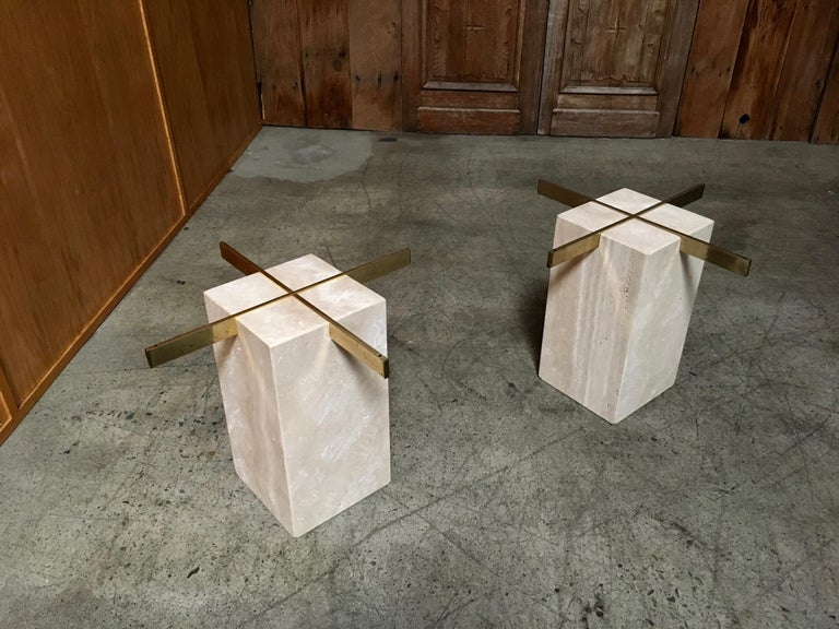 Artedi Travertine Tables a Pair For Sale 8
