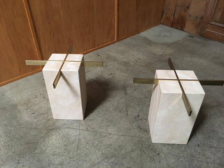 Artedi Travertine Tables a Pair For Sale 9