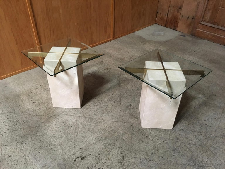 Artedi Travertine Tables a Pair For Sale 11
