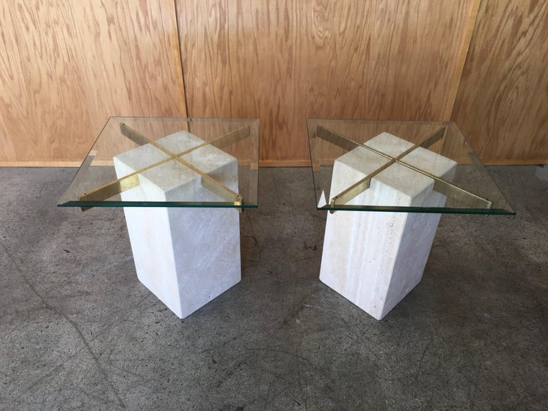 Mid-Century Modern Artedi Travertine Tables a Pair For Sale