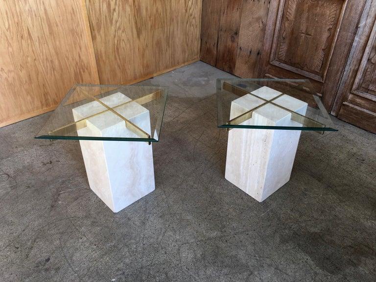 Italian Artedi Travertine Tables a Pair For Sale