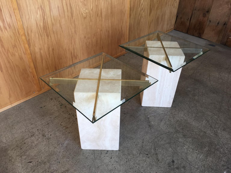 Beveled Artedi Travertine Tables a Pair For Sale