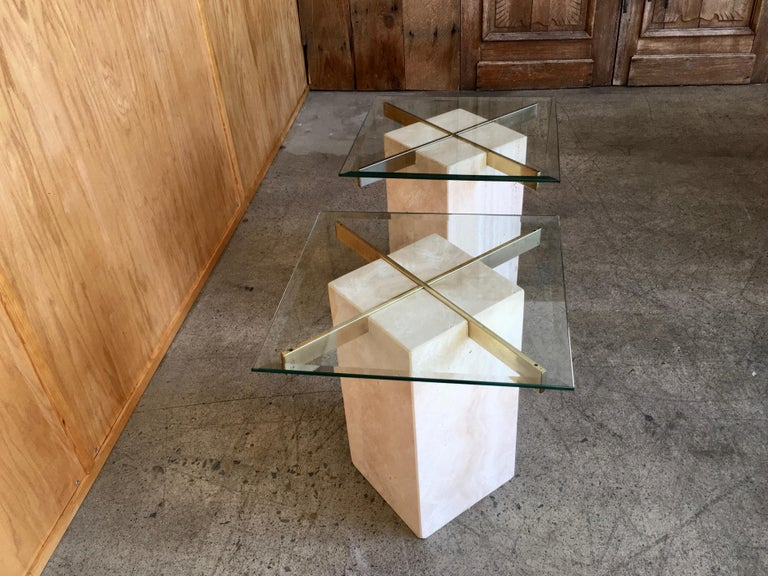 Artedi Travertine Tables a Pair In Good Condition For Sale In Laguna Hills, CA