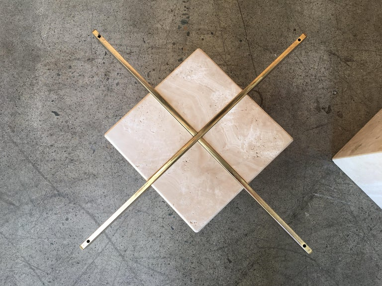 20th Century Artedi Travertine Tables a Pair For Sale