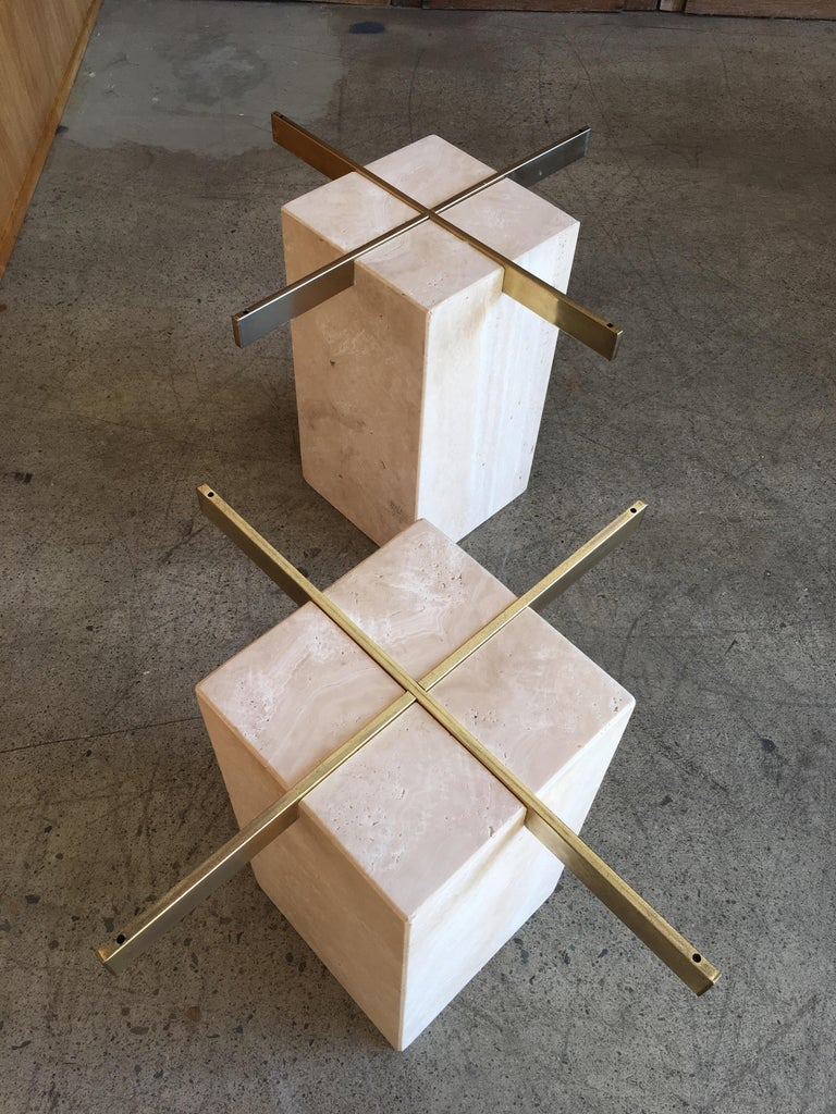 Artedi Travertine Tables a Pair For Sale 2