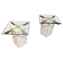 Artedi Travertine Tables a Pair