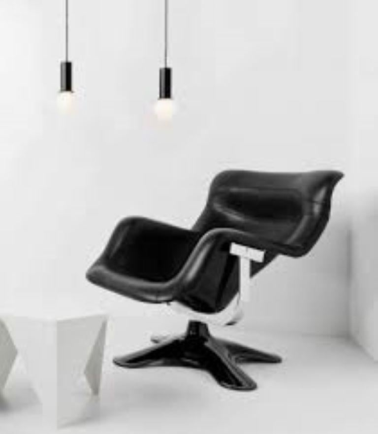 Modern Artek Karuselli Lounge Chair and Ottoman in Black Leather By Yrjö Kukkapuro For Sale