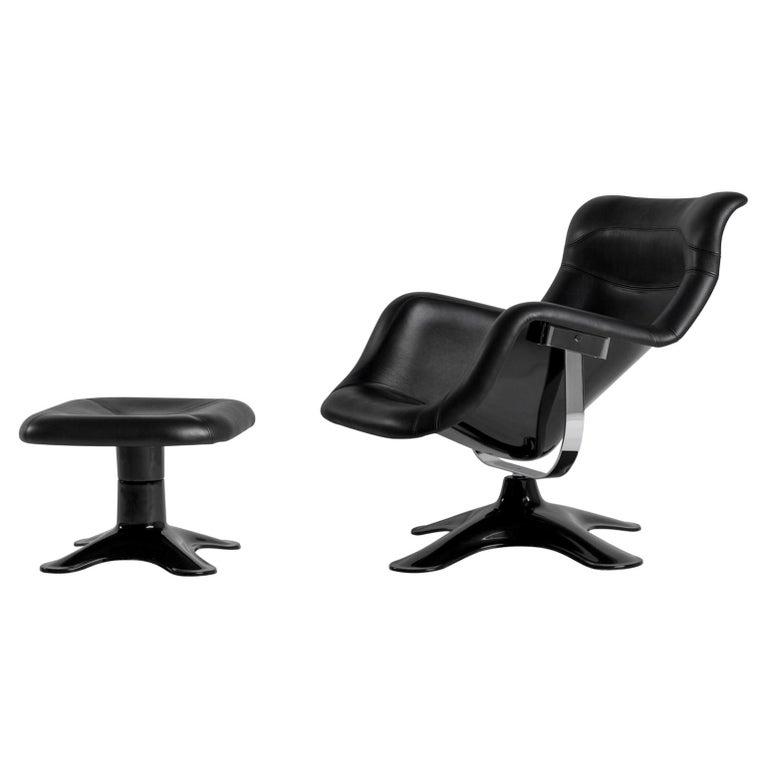 Artek Karuselli Lounge Chair and Ottoman in Black Leather By Yrjö Kukkapuro For Sale