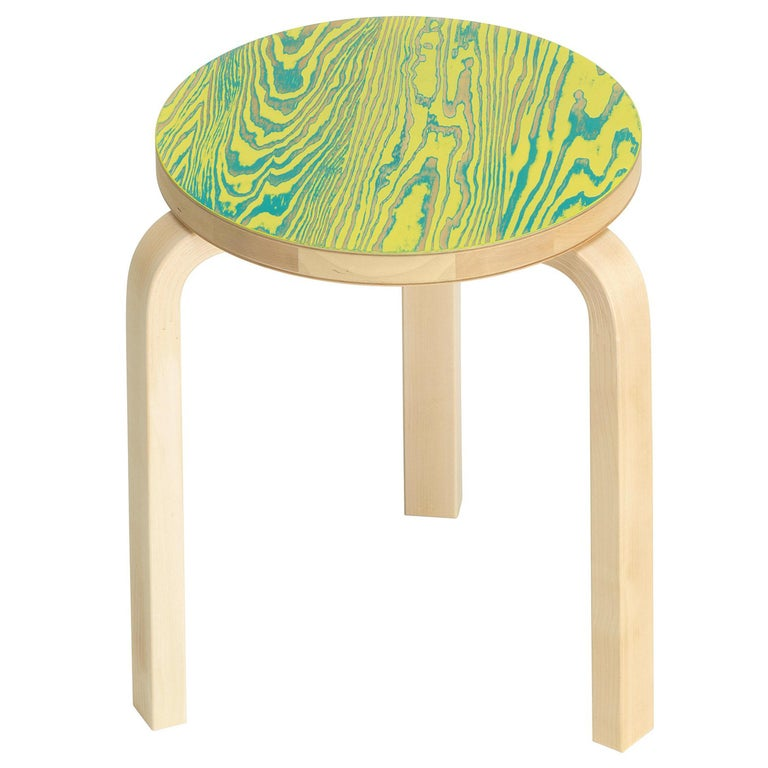 Artek Stool 60 ColoRing in Green and Yellow by Alvar Aalto and Jo Nagasaka For Sale