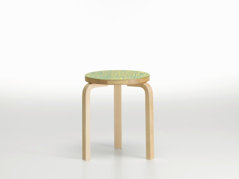 Modern Artek Stool 60 ColoRing in Green and Yellow by Alvar Aalto and Jo Nagasaka For Sale