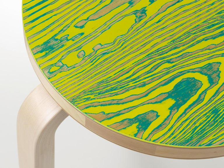 Finnish Artek Stool 60 ColoRing in Green and Yellow by Alvar Aalto and Jo Nagasaka For Sale
