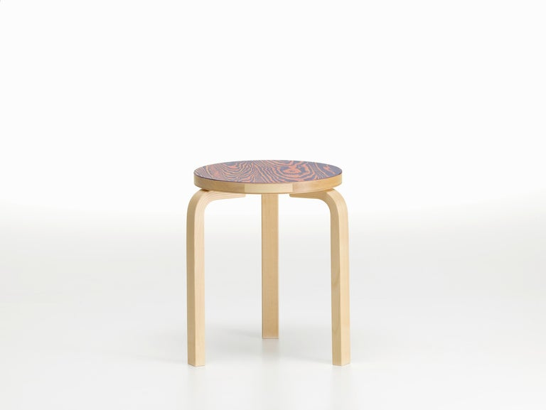 Modern Artek Stool 60 ColoRing in Pink and Purple by Alvar Aalto and Jo Nagasaka For Sale
