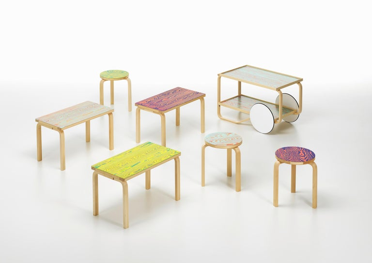 Birch Artek Stool 60 ColoRing in Pink and Purple by Alvar Aalto and Jo Nagasaka For Sale