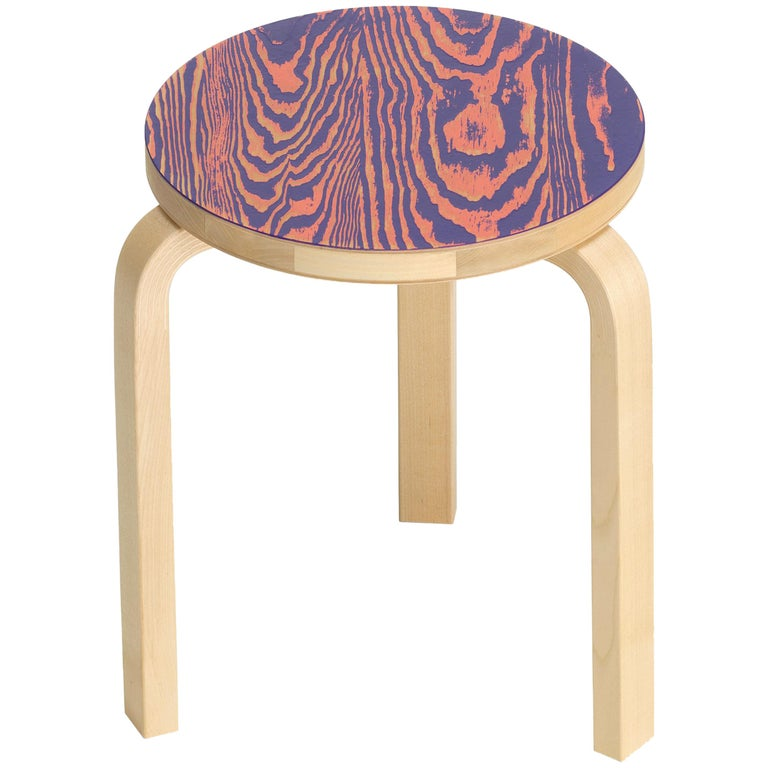 Artek Stool 60 ColoRing in Pink and Purple by Alvar Aalto and Jo Nagasaka For Sale