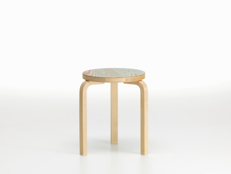 Modern Artek Stool 60 ColoRing in Red and Turquoise by Alvar Aalto and Jo Nagasaka For Sale
