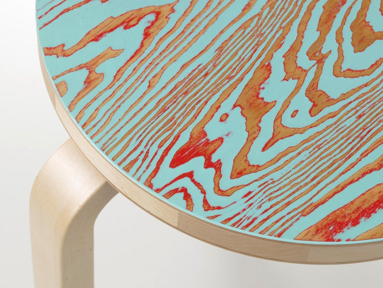 Finnish Artek Stool 60 ColoRing in Red and Turquoise by Alvar Aalto and Jo Nagasaka For Sale