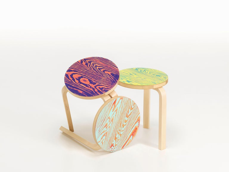 Artek Stool 60 ColoRing in Red and Turquoise by Alvar Aalto and Jo Nagasaka In New Condition For Sale In New York, NY