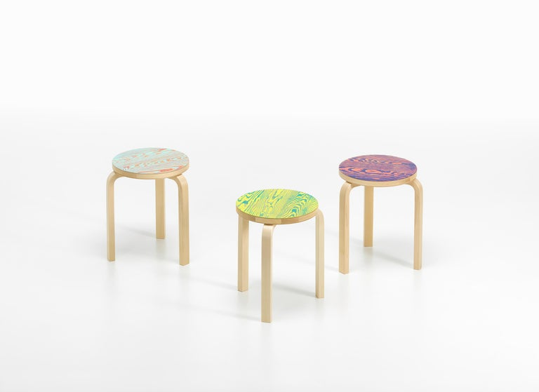 Contemporary Artek Stool 60 ColoRing in Red and Turquoise by Alvar Aalto and Jo Nagasaka For Sale