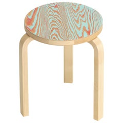 Artek Stool 60 ColoRing in Red and Turquoise by Alvar Aalto and Jo Nagasaka