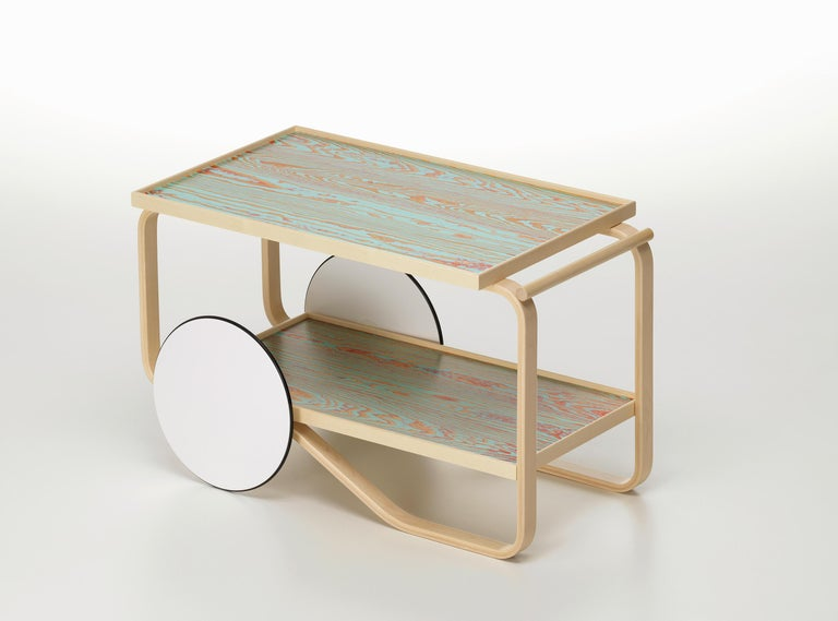 Modern Artek Tea Trolley 901 ColoRing in Red & Turquoise by Alvar Aalto and Jo Nagasaka For Sale