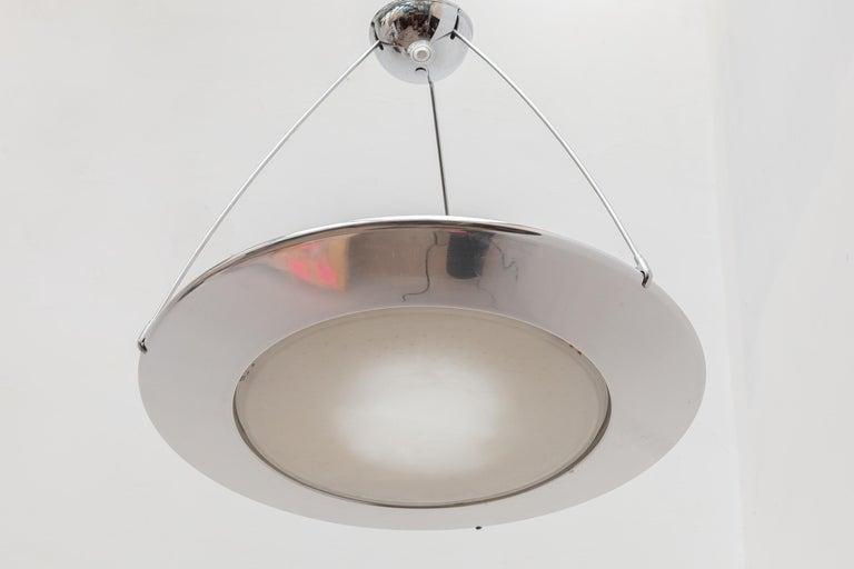 Mid-Century Modern Arteluce Atomic Space Chrome Disk Lamp Mira