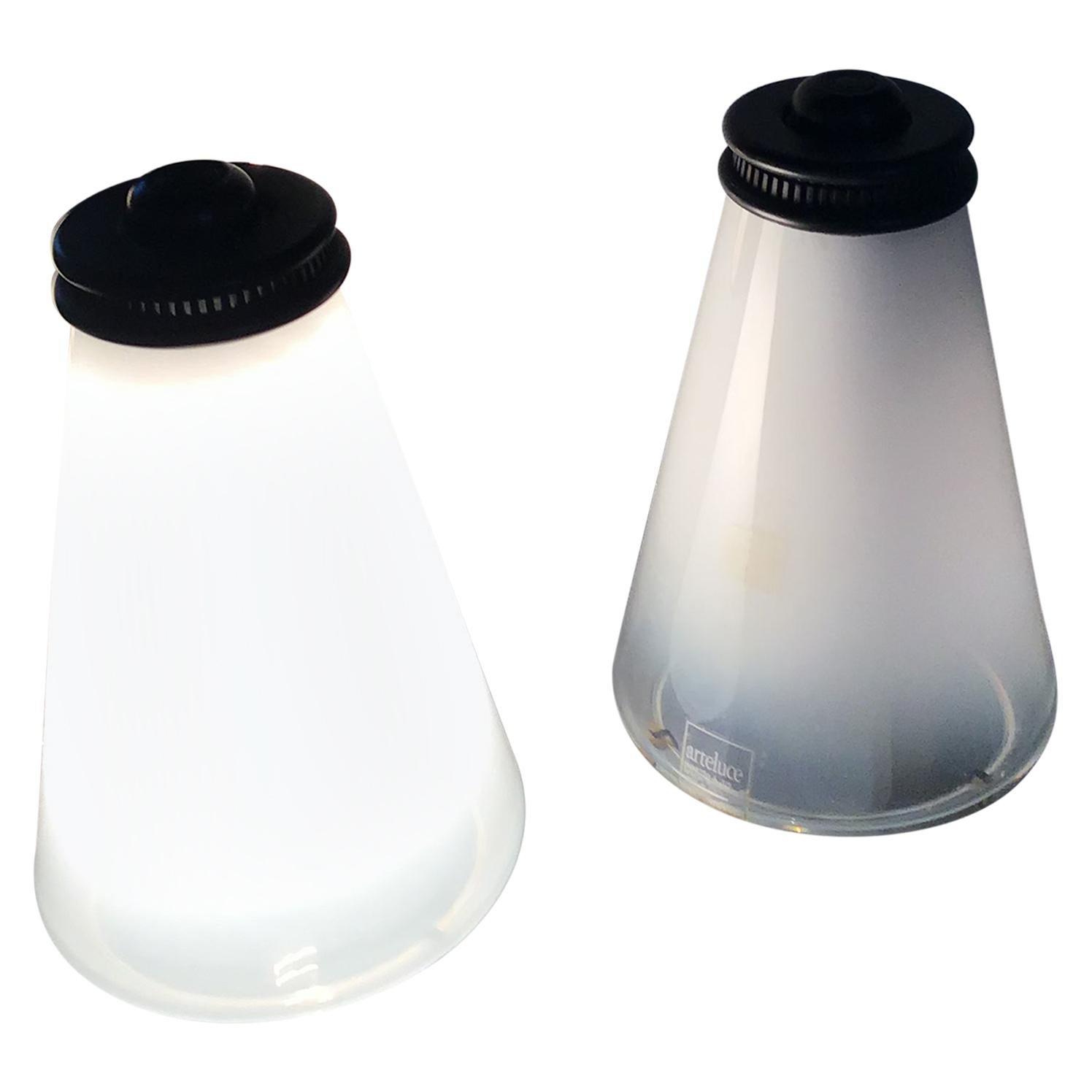"""Arteluce Couple Table Lamp Conetto """"Ezio Didone"""" Glass, 1979"""